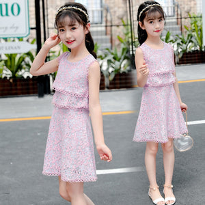 Teenage Girls Princess Dress 2019 Summer Vest Lace Pink Kids Dresses for Girls Clothes Girls Dress Children Costume 10 12 Year - triple-aaa-fashion-collection