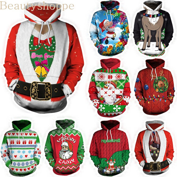 3D Unisex Printing Hooded Sweater Novelty Sweaters Ugly Christmas Sweater Funny Christmas Sweater Pullover Lovers Clothing - TRIPLE AAA Fashion Collection