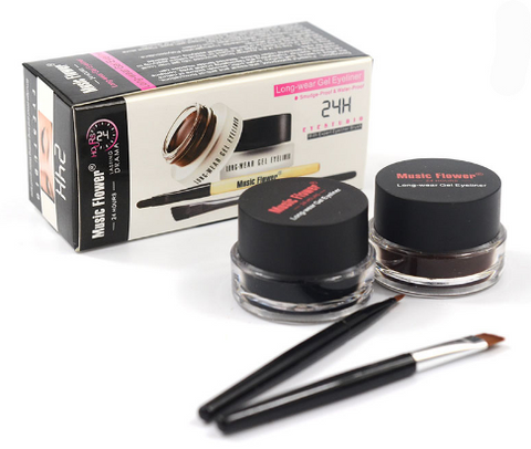 Music Flower 2 in 1 Coffee + Black Gel Eyeliner Make Up Waterproof Eye Liner Cosmetics Set Eyeliner Pens Makeup Brushes Set - triple-aaa-fashion-collection