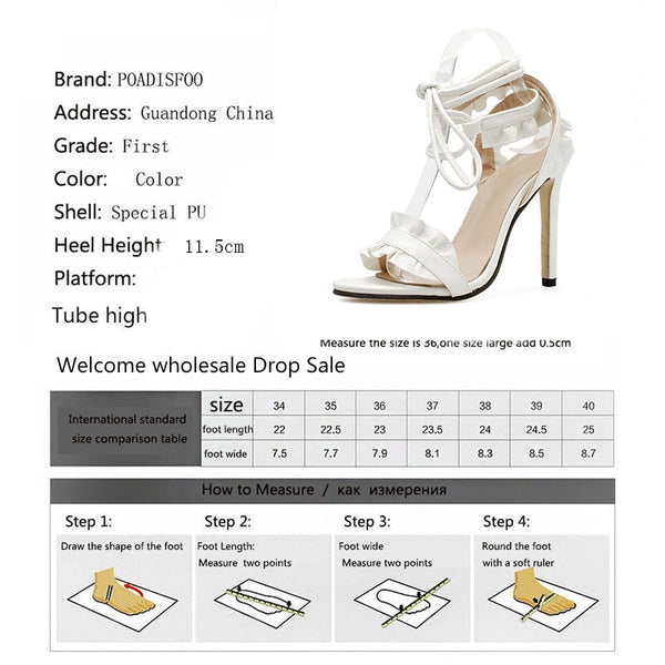 Top Sale Sandals Women's sandals Fish-mouth Lace-crossed High-heeled Shoes PLUS SIZE 43 11.5cm heels - TRIPLE AAA Fashion Collection