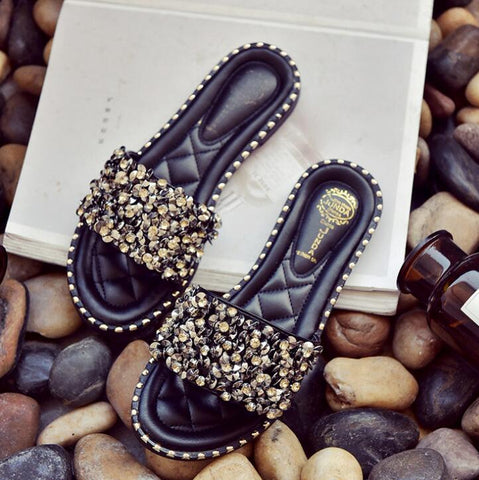 Women Casual Summer Flat Beach Slippers Female Crystal Rivets Slides Slipper Shoes For Girls Fashion Woman Leisure Footwear - triple-aaa-fashion-collection