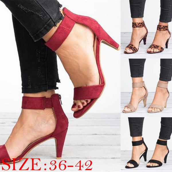 Women Flock Square Heel Sandals Leopard High Heels Buckle Strap Female Ladies Woman Sandal Shoes Girls - TRIPLE AAA Fashion Collection