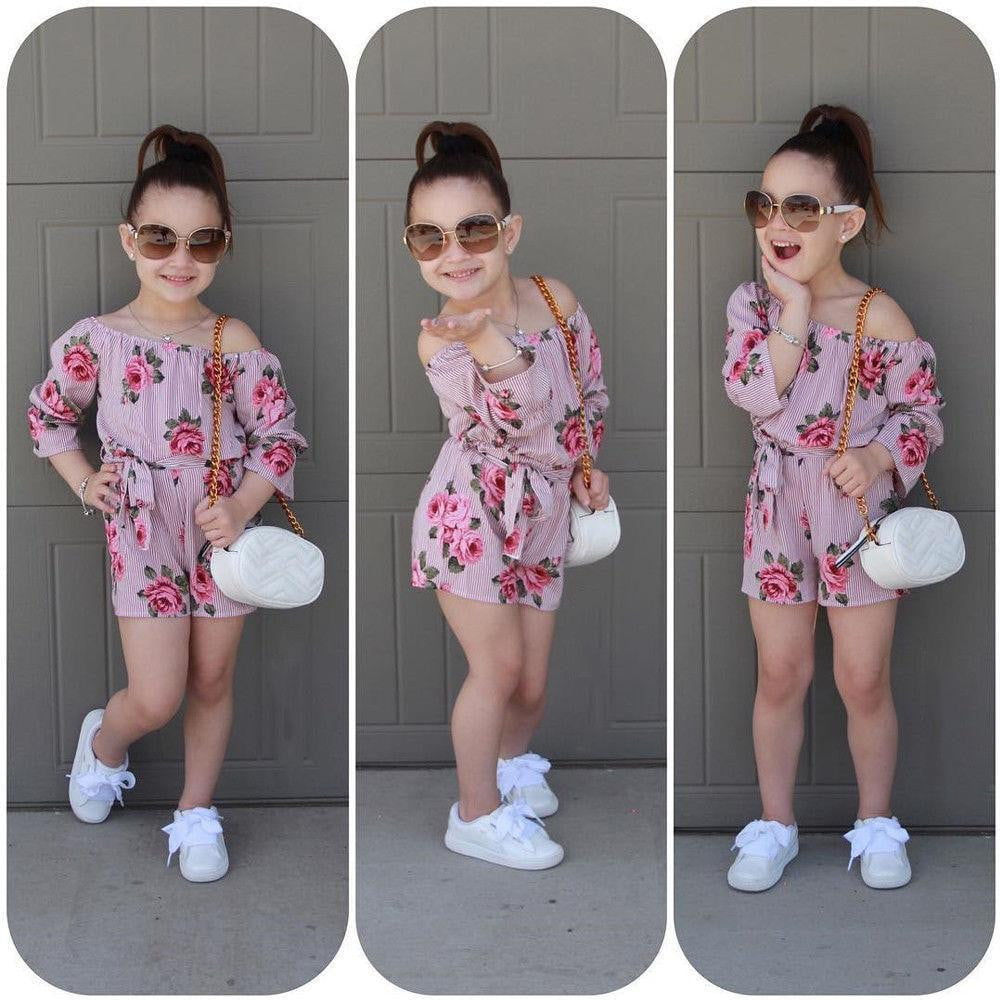 US Toddler Baby Girls Summer Floral Fashion Sleeveless Romper Headband Outfits