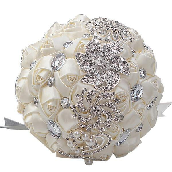 Artificial Wedding Bouquets Hand Made Flower Rhinestone Bridesmaid Crystal Bridal Wedding Bouquet - TRIPLE AAA Fashion Collection
