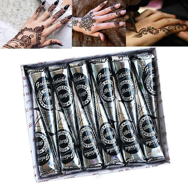 Golecha 12pcs 25g Natural Black Mehndi Henna Cones Indian Henna Tattoo Paste For Temporary Tattoos - TRIPLE AAA Fashion Collection
