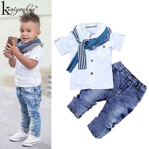Toddler Boy Clothes Summer Children Clothing Boys Sets Costume For Kids Clothes Sets T-shirt+Jeans Sport Suits 2 3 4 5 6 7 Years - TRIPLE AAA Fashion Collection