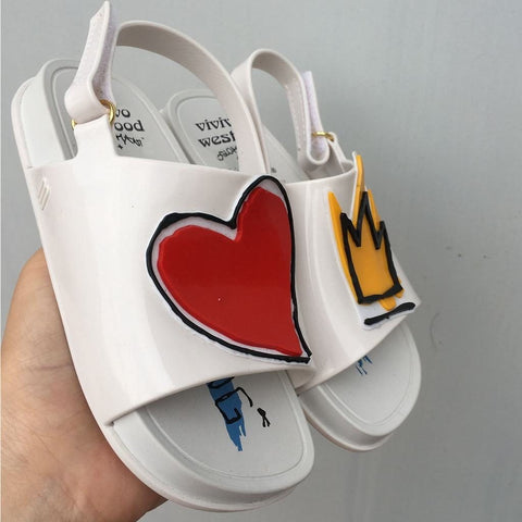 Crown and Red Heart Mini Sandals Summer Rain Shoes Jelly Shoe - triple-aaa-fashion-collection