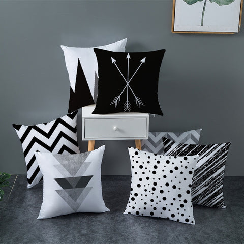 Geometric Cushion Cover Black and White Polyester Throw Pillow Case Striped Dotted Grid Triangular Geometric Art Cushion Cover - TRIPLE AAA Fashion Collection