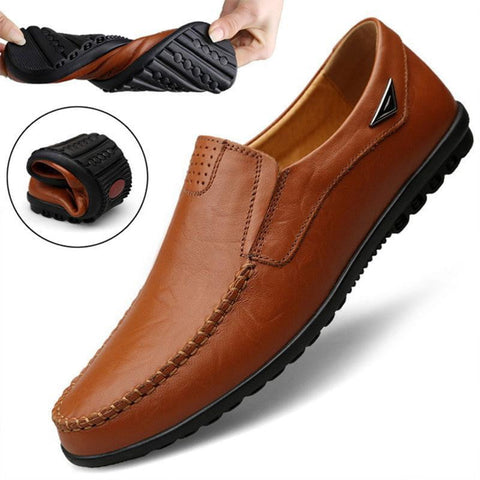 Genuine Leather Mens Moccasin Shoes Black Men Flats Breathable Casual Italian Loafers Comfortable Plus Size - TRIPLE AAA Fashion Collection