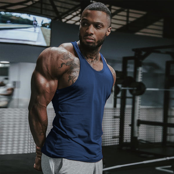 Men Gym Singlet Stringer Muscle Tank Tops Fitness Sport Shirt Y BACK Racer Workout Tops Vest - TRIPLE AAA Fashion Collection