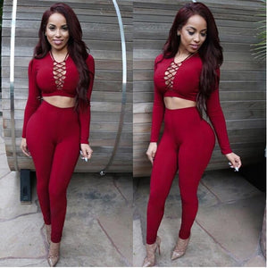 2 pieces long sleeve bandage Sets Sexy Crop Tops And Pants Sets Party Sexy Club Bodycon Bandage Dress - TRIPLE AAA Fashion Collection