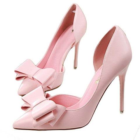 2018 fashion delicate sweet bowknot high heel shoes side hollow pointed Stiletto Heels Shoes women pumps - TRIPLE AAA Fashion Collection