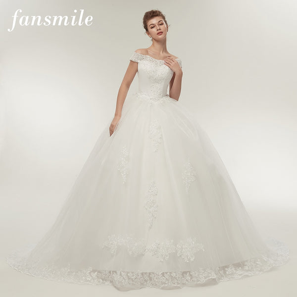Vintage White Long Train Wedding Dresses Plus Size Bling Bridal Gowns - TRIPLE AAA Fashion Collection