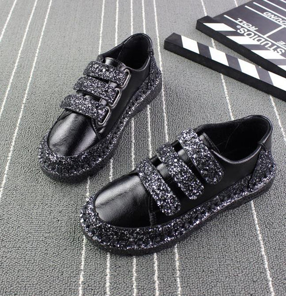 Sneakers Women Flats red Black Silver Shoes Rhinestone Bling Casual Shoes Korean Luxury Creepers Superstar Shoes - TRIPLE AAA Fashion Collection