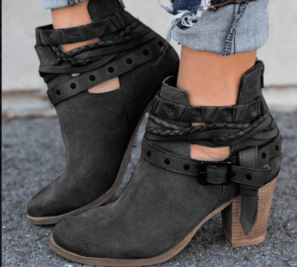 Buckle Strap Women Ankle Boots Casual Platform Shoes Woman High Heels Western Boots Slip On Winter Women Shoes - TRIPLE AAA Fashion Collection