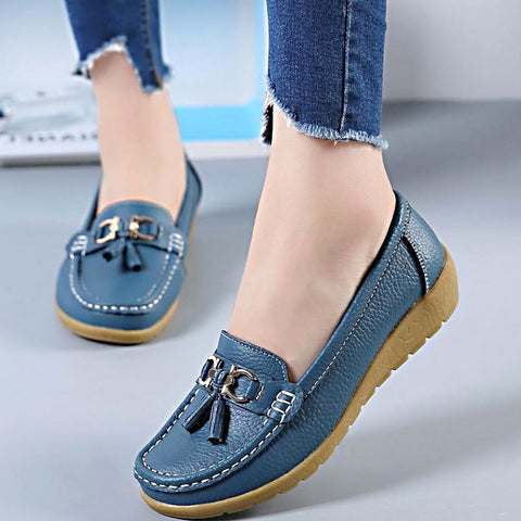 Spring Flats Women Shoes Loafers Genuine Leather Women Flats Slip On Women's Loafers Female Moccasins Shoes - TRIPLE AAA Fashion Collection