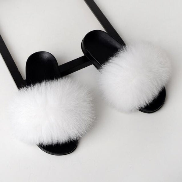 Women Flat Non-slip Solid Fox Fur Slides Real Fox hair Slides Large Size Slippers - TRIPLE AAA Fashion Collection