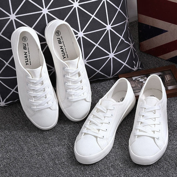 White Canvas Shoes Sports Tennis Women Shoes Autumn Flat Oxford Shoes Woman Female Wild Literary Shoes - TRIPLE AAA Fashion Collection