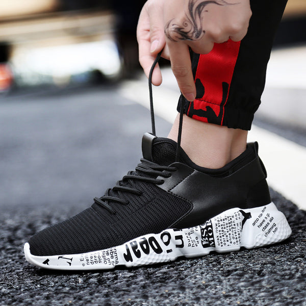 Mesh Breathable Casual Shoes Male Laces Sneakers Unisex Couple Running Shoes Solid Color Ccushioning - TRIPLE AAA Fashion Collection