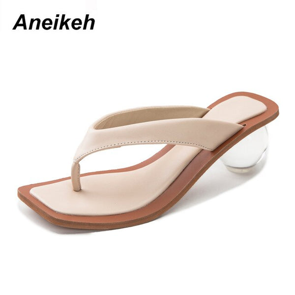 Aneikeh 2020 Women Sandals Clear Transparent Med Heel Round Heel Shoes Open Toed Slipper Sandals For Party Shoes Women Pumps 43 - TRIPLE AAA Fashion Collection