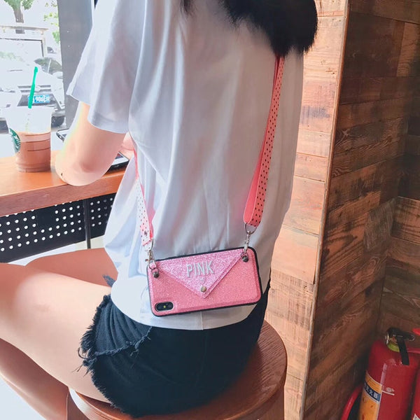 Luxury PINK Glitter Embroidery Leather Case for iPhone 7 7Plus Fashion Wave Point Lanyard Case For iphone XS Max X 8 6 6s Plus - TRIPLE AAA Fashion Collection