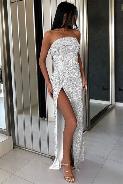 Sexy Strapless Shiny Silver Long Party Dress Front Slit Stretchy Bodycon Backless Synthetic Knit Glitter Maxi Dress - TRIPLE AAA Fashion Collection
