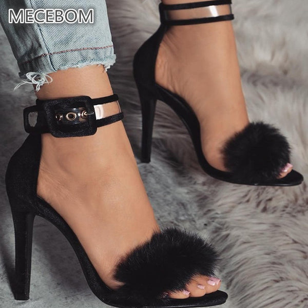 Women Pumps Snake Black High Thin Heels Ankle Strap Platform Faux Fluffy Rabbit Fur Woman Sandal Party Wedding Lady Shoes - TRIPLE AAA Fashion Collection