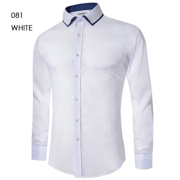 Men's Casual Shirt Slim Fit Men's Casual Button Down Shirt Long Sleeve Formal Dress Shirts Men Male Clothing Camisa - TRIPLE AAA Fashion Collection