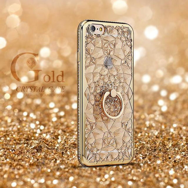 for iPhone X Xs Max XR Case Luxury 3D Soft Ring Capa for iPhone 5 5S SE 6 S 7 8 Plus Ring Silicon Glitter Rhinestone Stand Cover - TRIPLE AAA Fashion Collection