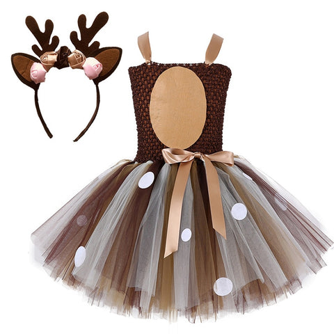 Deer Tutu Dress Baby Girls Dresses for Girls Halloween Costume For Kids Elk Cosplay Christmas Birthday Party Dress With Headband - triple-aaa-fashion-collection