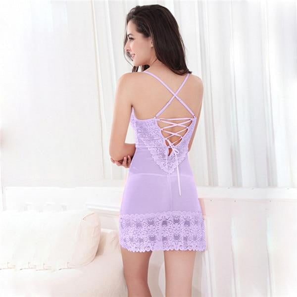 Lace Dress Sexy Sleepwear Female Temptation Women's Summer Lace Nightgown Spaghetti Strap Belt Underwear - TRIPLE AAA Fashion Collection