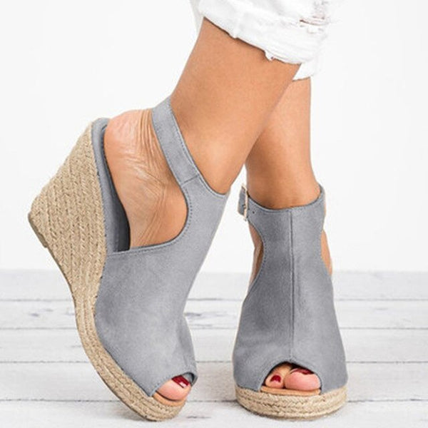 Women Sandals Female Suede Open Toe Cork Wedge Shoes Platform Buckle Strap Fashion Ladies Ankle Strap High Heels Shoes - TRIPLE AAA Fashion Collection