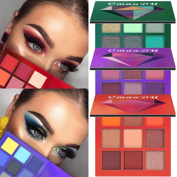 CMAADU Brand 9color Diamond Bright Eye Shadow Palette Matte Shimmer Glitter Eye Shadow Powder Cosmetic Party Makeup Kit - TRIPLE AAA Fashion Collection