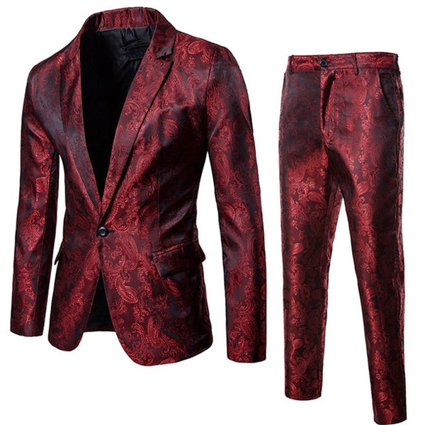 Wine Red Nightclub Paisley Suit (Jacket+Pants) Men Single Breasted Mens Suits Stage Party Wedding Tuxedo Blazer 3XL - TRIPLE AAA Fashion Collection