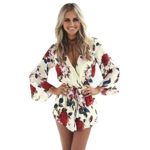Summer Beach Romper Women V Neck Print Jumpsuit Clubwear Casual Loose Playsuit Short Pants Trouser - TRIPLE AAA Fashion Collection