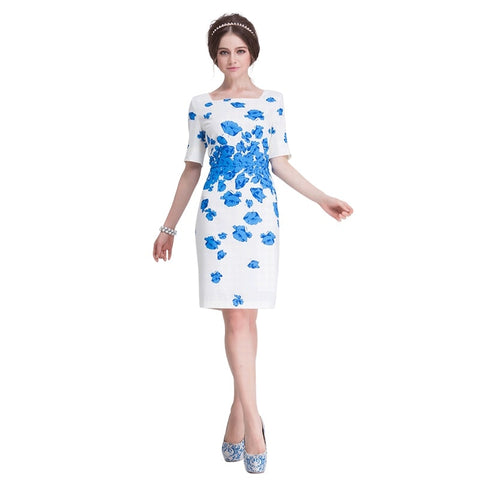 shenbolen Women Summer Kate Middleton Dresses Ladies Party Elastic Bodycon Pencil White Blue Elegant Knee Length Dress - TRIPLE AAA Fashion Collection