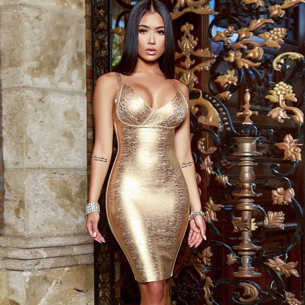 Summer new women dress sleeveless v neck bandage dress sexy bodycon bronzing celebrity party gold dresses - TRIPLE AAA Fashion Collection