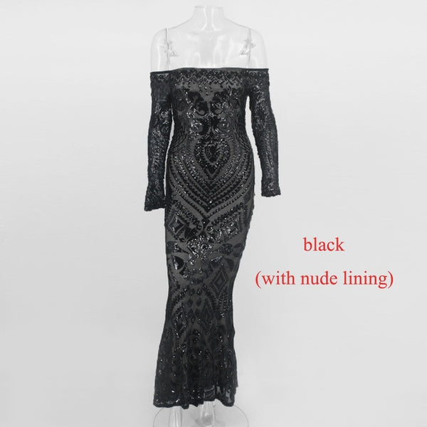 Off Shoulder Black Maxi White Dress Women Strapless Party Sexy Winter Dresses Vestido - TRIPLE AAA Fashion Collection