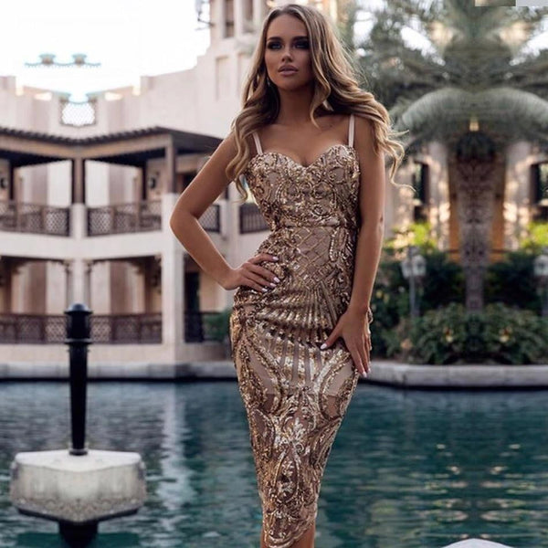 Bodycon Sexy Summer Dress Vestidos Luxury Sequined Dresses Women Spaghetti Strap Night Out Club Evening Party Dress - TRIPLE AAA Fashion Collection