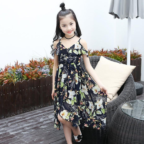 Girls Dress Bohemia Style Dresses Girls Sleeveless Floral Dress For Adolescents 8 10 12 Big Kids Girls Clothes - TRIPLE AAA Fashion Collection
