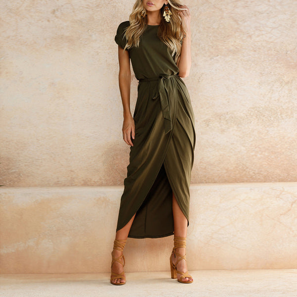 Summer Women's Bohemian Beach Dresses Personality Slim Tunic Long Casual Short-Sleeved Waistline Asymmetrical Vestidos - TRIPLE AAA Fashion Collection