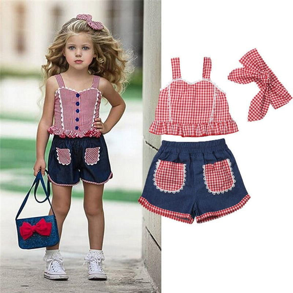 Children girls clothes roupas infantis menina  Summer Girl Outfits teenage girls clothing Crop Top Denim Shorts Headband - TRIPLE AAA Fashion Collection