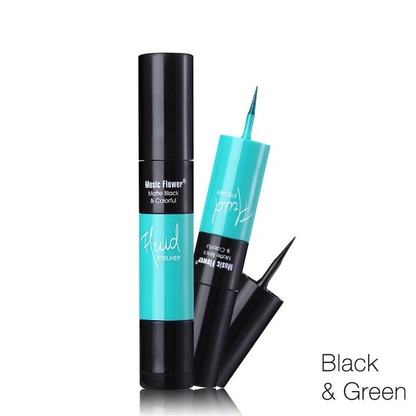 Music Flower Matte Black & Colorful 2 In 1 Waterproof Liquid Eyeliner Pen Makeup Fast Dry Smooth Long Lasting Charm Eyes Liner - TRIPLE AAA Fashion Collection
