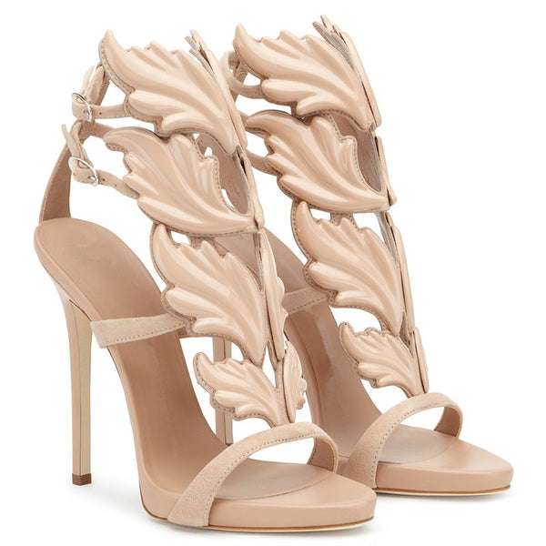 Leather Sandals Women Gold Leaf Flame Gladiator Sandal Shoes Party Dress Shoe Woman Patent High Heel Sandals - TRIPLE AAA Fashion Collection