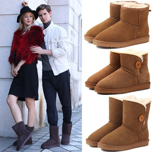 Casual classic warm wear-resistant anti-slip Genuine Leather men's snow boots leather fabric and wool warm winter women's shoes - TRIPLE AAA Fashion Collection