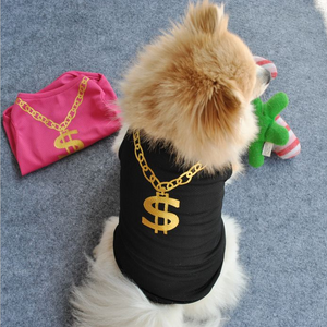 Pet Clothes Vest Dogs Tshirts Dollar Sign Clothing Wedding Clothes Gold Pet Products Dog - TRIPLE AAA Fashion Collection