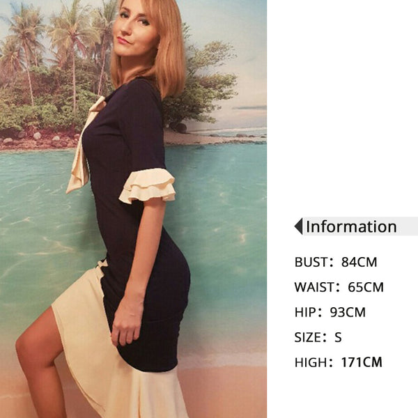 Vintage Elegant Office Lady Women Dresses Bodycon Flare Sleeve Bow Collar Falbala Girls Sexy Female Retro Party Dress - TRIPLE AAA Fashion Collection