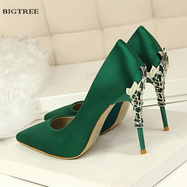 Metal Heel Flower High Shoes Silk Elegant Pumps Women Heels Shoes - TRIPLE AAA Fashion Collection