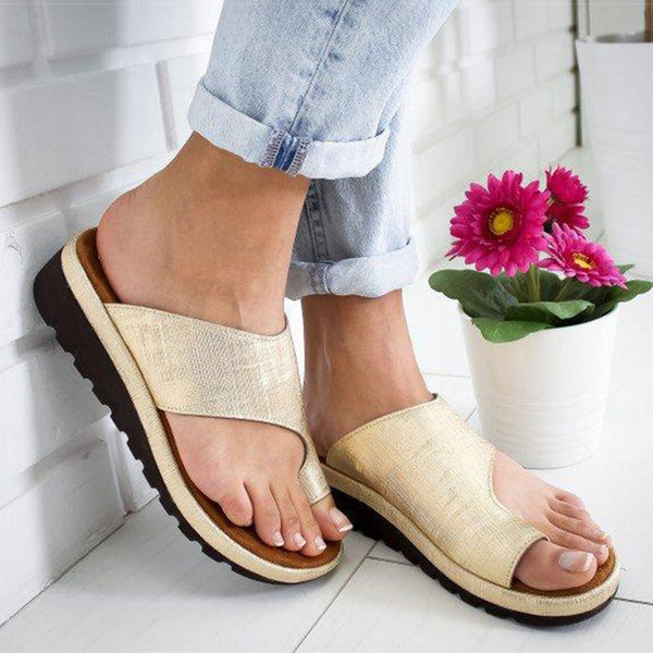 Women PU Leather Shoes Comfy Platform Flat Sole Ladies Casual Soft Big Toe Foot Correction Sandal Orthopedic Bunion Corrector - TRIPLE AAA Fashion Collection