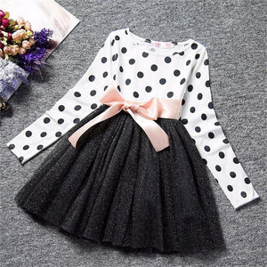 Dot Long Sleeve Dress For Girls Clothing Child Costume Baby Girl Clothing Teenager School Daily Wear Sashes Kids Casual Clothes - TRIPLE AAA Fashion Collection